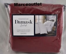 Charter Club Damask Solid 550 Thread Count FULL QUEEN Duvet Pomegranate Burgundy