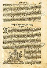 """Munster's """"COSMOGRAPHIA"""" - """"WOMAN ON DONKEY"""" - Copper Engraving -1544"""