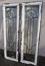 "Pair Solid Oak Antique All Beveled Glass 55"" Sidelights Estate # 619 Rare Size"