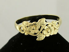 R010 Lovely Genuine 9ct SOLID Gold Flower Blossoms & Leaves Ring in your size