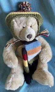 Russ Harvest Moon Vintage Plush Stuffed Animal Tan Bear With Tassel Hat & Scarf