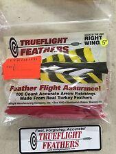 trueflight 12.7Cm PIUME destrorsi ALETTE parabolico taglio 100 pz. Rosso