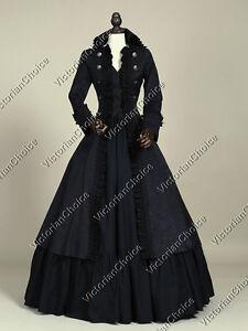 Black Victorian Gothic Steampunk Coat Dress Women Witch Halloween Costume 176 L