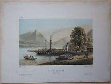 1850ca LAC DE THOUNE NEUHAUS litografia Fischer Ochsner Bern Thunersee Thun