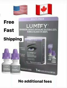 Bausch + Lomb LUMIFY Redness Reliever Eye Drops 0.25 Fl Oz (7.5mL) 2 PACK CANADA