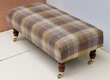 New Handmade Footstool in 100% Wool Tartan Fabric. Choice of Legs & Fabric!