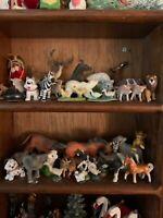 lot of 57 VINTAGE  MINIATURE Animal FIGURINES ceramic porcelain glass metal