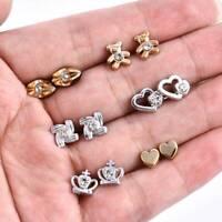 36pairs Fashion Mini Heart Star Crystal Stud Earrings For Women Girls Gift