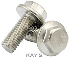 M5 FLANGED HEXAGON SCREWS, FULLY THREADED FLANGE HEAD BOLTS A2 STAINLESS STEEL