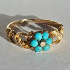 Charming Antique Georgian 15ct Gold Turquoise & Pearl Cluster Ring c1825
