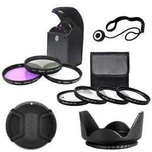 72mm Close up Lens Set + Filter Kit + Tulip Lens Hood + Lens Cap + Cap Keeper