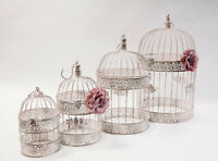 Rustic Round Metal Birdcage Set Of 4 CX10631 Wedding Decor Centrepiece Garden
