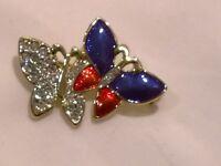 Vintage butterfly brooch enamel pin diamante stones blue red statement 1980s