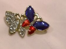 Vintage 1980s butterly diamante blue red enamel brooch pin Mother's Day