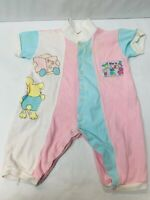 Vintage Baby One Piece Snap Pajama Outfit 6-9 Months Wee N Me Pink Blue Clothes