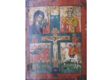 Große antike russische Vierfelderikone Ikone 19. Jhd.