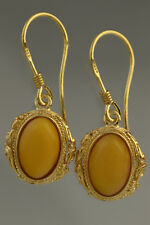 Egg Yolk Genuine BALTIC AMBER Gold Plated Silver Earrings 3.8g 180611-8