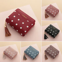Women Leather Tassel Wallet Money Card Holder Party Clutch Bag Coin Purse New