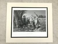 1878 Print Autumn Harvest Returning Home French Painting Antique Engraving
