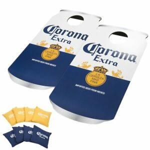NEW Cornhole Game Beer Can 2-Boards Gold/Blue Bean Bags Outdoor Tailgate SEALED
