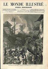 Explosion Usine Produit Chimique Saint-Denis Victime GRAVURE ANTIQUE PRINT 1874