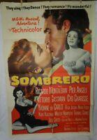 1 Vintage One Sheet Movie Poster for Sombrero, 1953, Ricardo Montalban