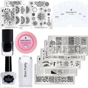 14Pcs/Set Nail Image Stamping Templates Polish Peel Off Tape Remover Pads Kit