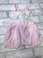 Vintage Newborn Girl Pink Candy Stripe Romper Overalls Nautical Sailboat Theme