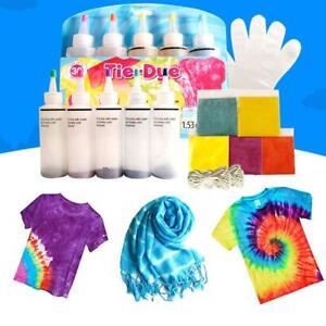 One Step Tie Dye Kit Vibrant Fabric Textile Permanent Paint Color Tool Supplies