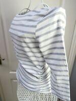 MINT VELVET Breton Stripe Cotton Jersey Top Size 12 Ruched Zip Detail Casual