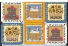 6 Longaberger Basket Coasters w 2 Apples 2 Chicken Egg 2 Basket of Sunflowers