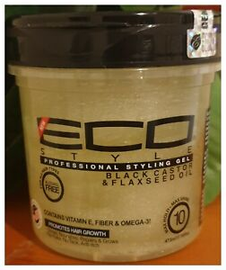 ECO PROFESSIONAL STYLING GEL BLACK CASTOR & FLAXSEED OIL 16oz - Australia stock