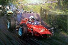 "Nicholas Watts print - ""John Surtees World Champion - 1964 "" - Signed by Surtees"
