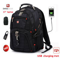 "SwissGear Multifunctional 17"" laptop backpack USB Charging Travel bag Schoolbag"