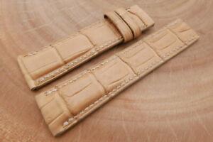 24mm/22mm Beige Genuine ALLIGATOR Leather Watch Strap forBreitling Navitimer