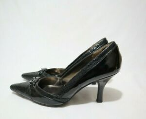 JOAN&DAVID Size 9.5 Womens Black Leather Glitzy Pointy Heels