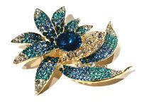 Bijou alliage doré broche fleur cristal multicolores brooch