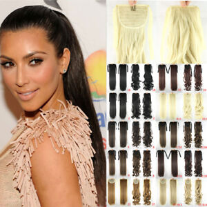 """22"""" Clip In Drawstring Ponytail+Ribbon Synthetic Hair Extension Straight or Wavy"""