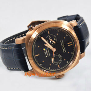 44mm Power reserve 24-hour display seagull automatic watch rose gold plated case