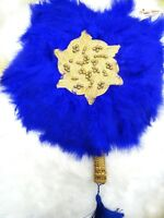 Royal Blue New Design Round Shape New Style Feather Bridal engagement Hand fan