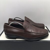 TOD'S Gommino Brown Leather Mens Loafer Moccasin Driving Shoes SZ 7 Fits US SZ 8