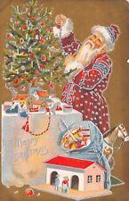 Santa Trims Christmas Tree~Candles~Silver Garland~Doll House~Rocking Horse~Gold