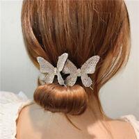Crystal Rhinestone Elegant Fashion Hair Accessory Butterfly Hair Bun Maker