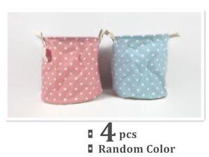 4x Round Canvas Storage Kids Babies Nursery Laundry Basket Polka Dot Design