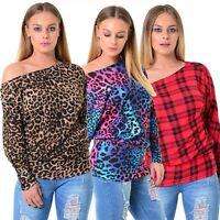 Womens Ladies Off The Shoulder Bardot tartan Leopard Print  Batwing Top Dress
