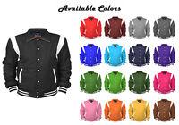 Mens Wool Jacket Long Sleeves Winter OverCoat Leather Vintage Varsity Jackets