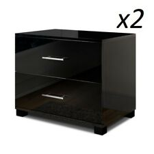 2x Bedside Table Cabinet High Gloss Chest 2 Drawers Lamp Side Nightstand Black