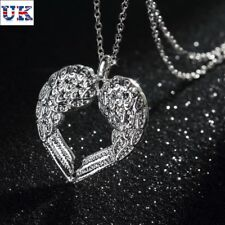 Elegant 925 Sterling Silver Solid Angel Wing Heart Chain Woman Necklace UK Gift