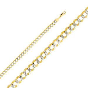 14K two-tone gold 5.5mm Cuban bracelet EJCN35432