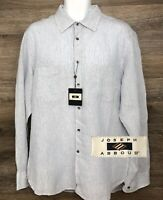 NEW Joseph Abboud Men's 100% Linen Blue Striped Long Sleeve Button Front Shirt L